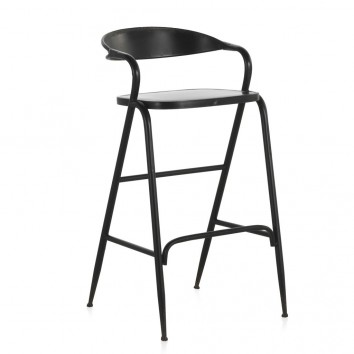 Silla alta de estilo vintage negro 51x56x99h