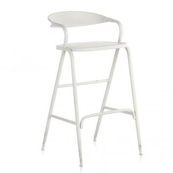 Silla alta de estilo vintage blanco 51x56x99h