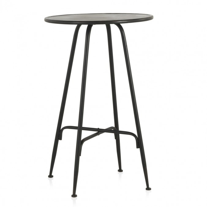 Mesa alta de estilo vintage negro 75x75h