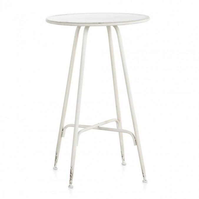 Mesa alta de estilo vintage blanco envejecido 75x75h