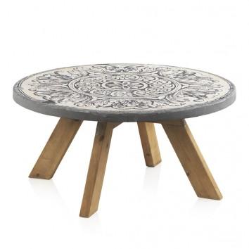 Mesa de centro redonda 79x38h madera y cemento