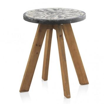 Mesa auxiliar 40x50h madera y cemento