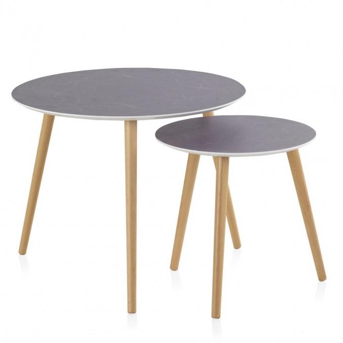 Set 2 mesas auxiliares redondas con serigrafía