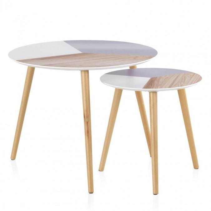 Set 2 mesas auxiliares redondas superficie multicolor