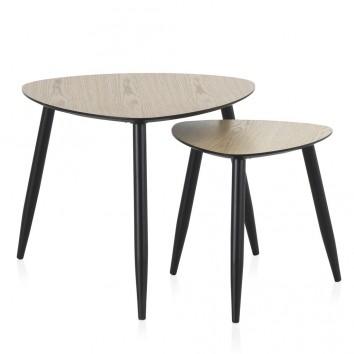 Set 2 mesas auxiliares estilo vintage aristas curvas