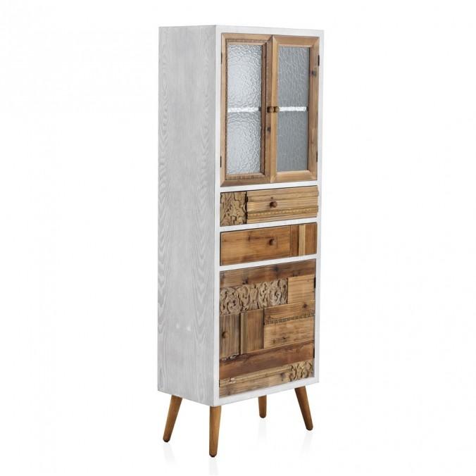 Vitrina estio étnico 60x35x170h madera reciclada