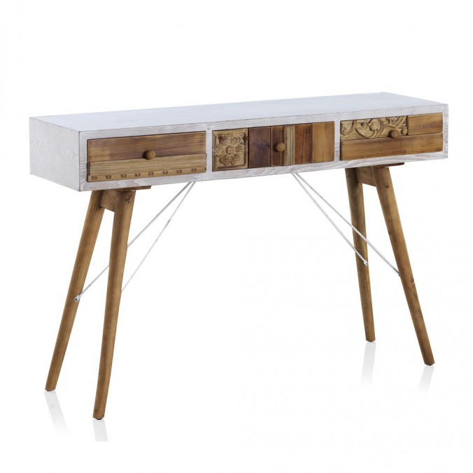 Consola estilo étnico 120x36x81h madera reciclada