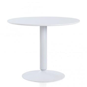 Mesa comedor redonda de acero y madera 100x78h