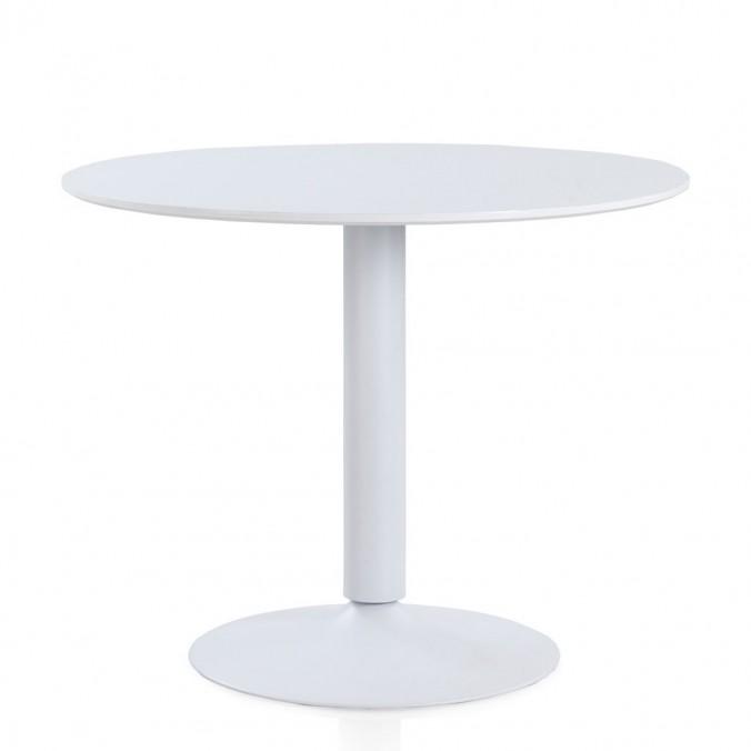 Mesa comedor redonda de acero y madera 100x78h - Erizho