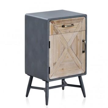 Mesilla puerta y cajón estilo industrial abeto 40x35x70h
