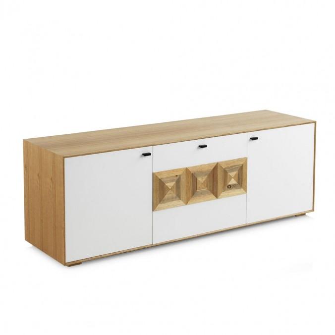Mueble TV estilo contemporaneo 160x45x55h mdf y teka