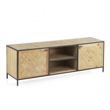Mueble TV estilo industrial 150x40x50h hierro y abeto