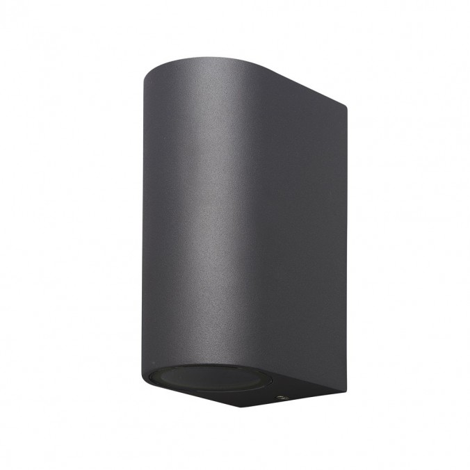 Aplique pared exterior 2 luces curvo gris