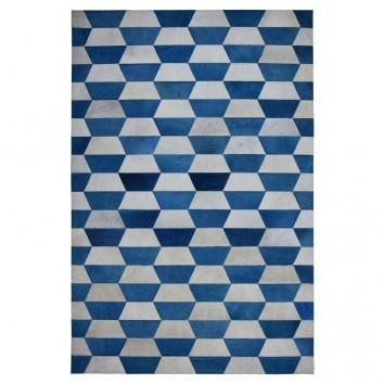 Alfombra piel de vaca MERENGUE trama trapecio azul - varios tamaños