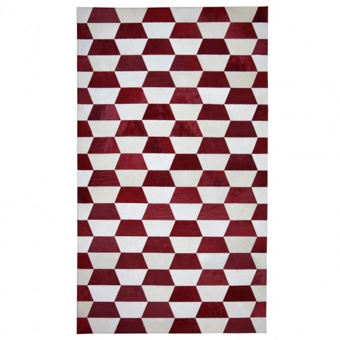 Alfombra piel de vaca MERENGUE trama trapecio rojo - varios tamaños