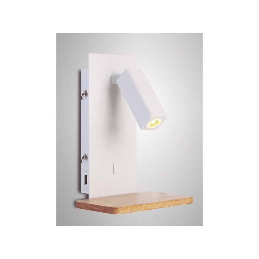 Aplique foco led nordica usb erizho for Apliques de pared baratos