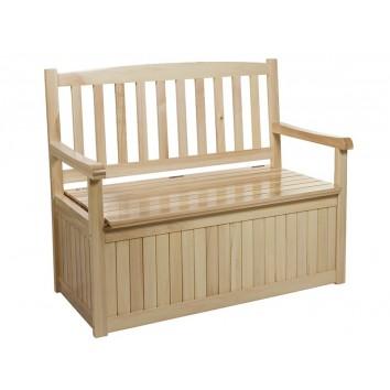 Banco madera de álamo con baul - 116x65x99h