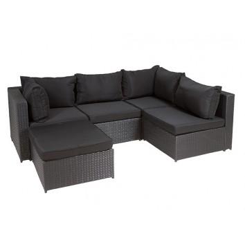 Conjunto de exterior sofá rinconera modular con puff