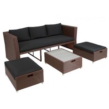 Sofá de exterior - 178x78x75h con 2 puffs y mesa baja