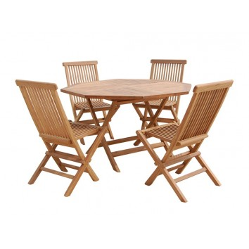 Conjunto de exterior mesa - 120x120x77h con 4 sillas