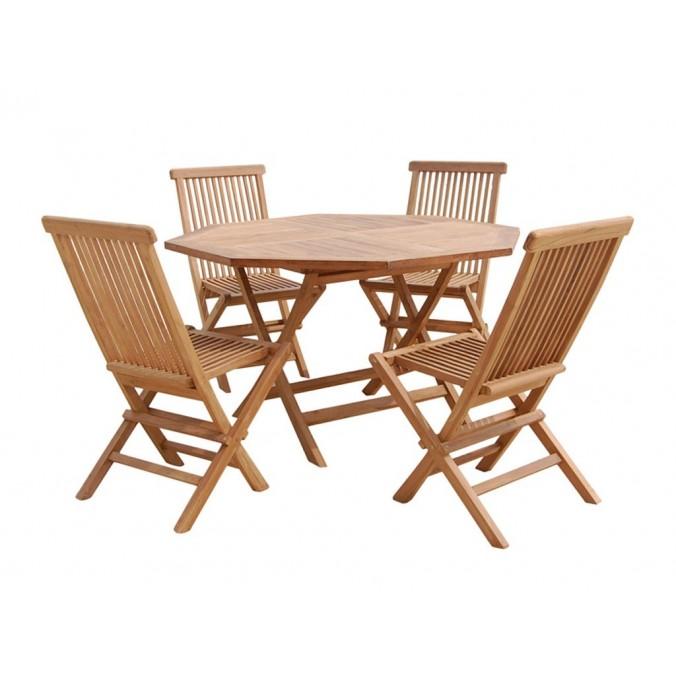 Conjunto de mesa con 4 sillas - 120x120x77h