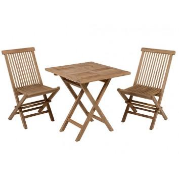 Mesa cuadrada + 2 sillas teca - 70x70x77h