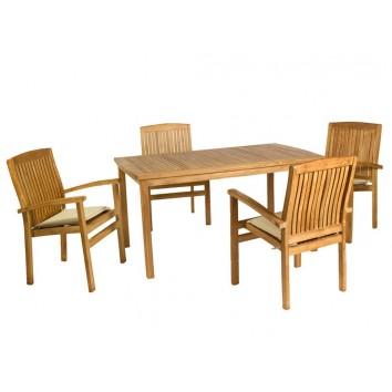 Mesa de teca con 4 sillones - 150x90x75h