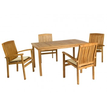 Set exterior mesa - 150x90x75h con 4 sillones madera de teca
