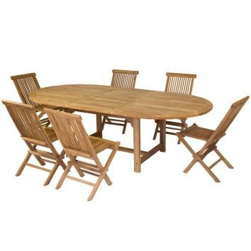 Mesa extensible y 6 sillas - 180x120x76h