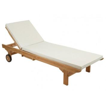 Tumbona madera de teca con cojín - 200x65x32h