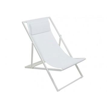 Sillón de jardín plegable blanco - 60x100x93h