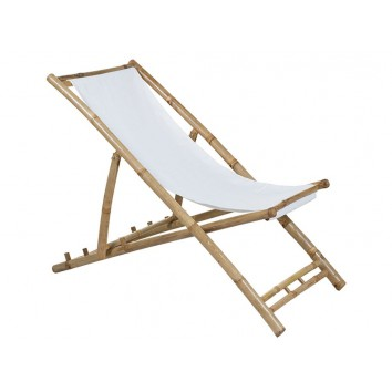 Tumbona de bambú para playa y jardín - 136x59x66h