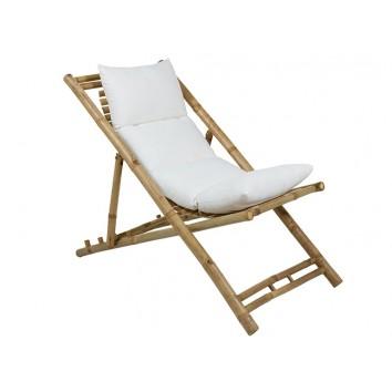 Tumbona de bambú con respaldo y cojín - 136x59x63h
