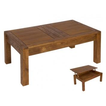 Mesa centro elevable madera de mindi - 110x65x45h