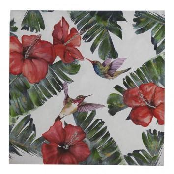 Lienzo impreso y retocado colibrís 100x100x3cm