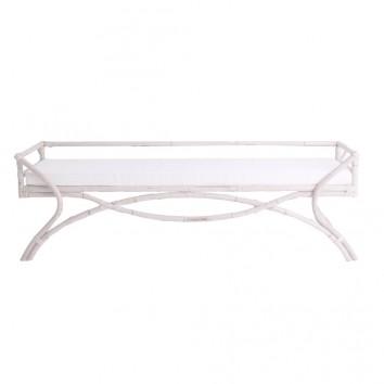 Banco de ratán natural tono blanco - 180x53x59h