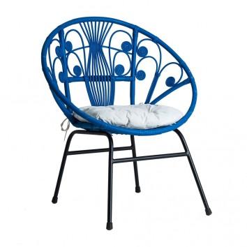 Sillón de ratán y hierro tono azul - 80x64x92h