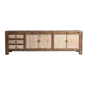Mueble TV estilo oriental madera de olmo - 200x40x60h