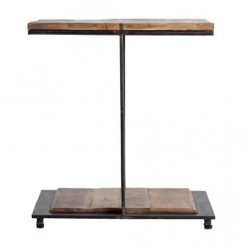 Mesa auxiliar madera mango y hierro - 55x55x60h