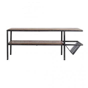 Mesa centro madera mango con revistero - 120x60x48h