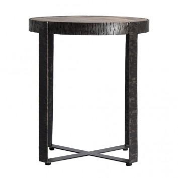Mesa auxiliar madera de mango y hierro  - 51x51x59h