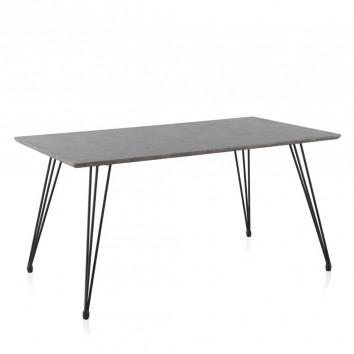 Mesa comedor efecto cemento gris 160x90x77h