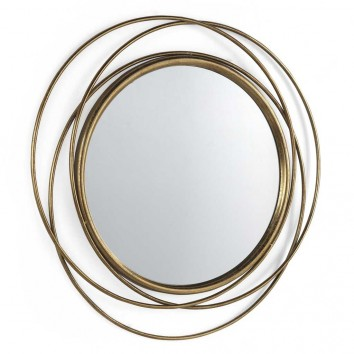 Espejo de metal estilo Art decó - 80x80x3cm