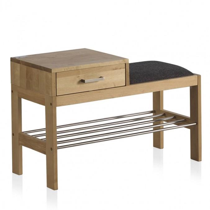 Banqueta-descalzador madera de abedul 80x35x52h