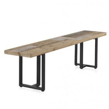 Banco de madera estilo rústico industrial 180x35x46h