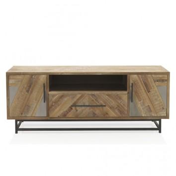 Mueble TV estilo industrial 150x47x57h abeto y hierro