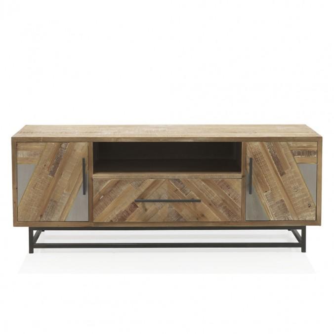 Mueble TV estilo industrial 80x25x90h abeto y hierro