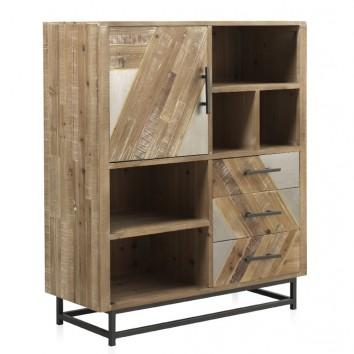 Aparador-libreria estilo industrial 100x43x117h abeto y hierro