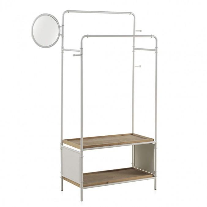 Mueble perchero-vestidor hierro y madera 92x40x163h