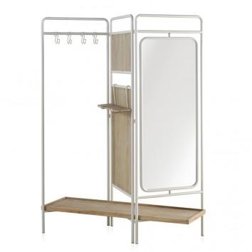 Mueble perchero-vestidor hierro y madera 150x38x179h